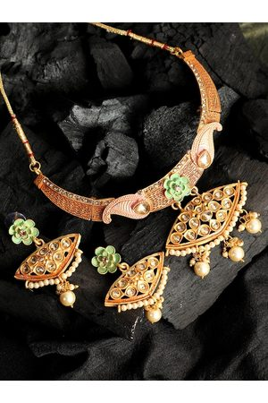 ANIKAS CREATION Gold-Plated Peach-Colored & Sea Green Kundan-Studded Pearls Enamelled Traditional Jewellery Set