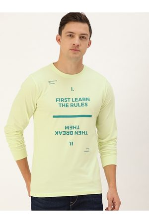 Difference of Opinion Men Green Typography Print Round Neck Pure Cotton T-shirt
