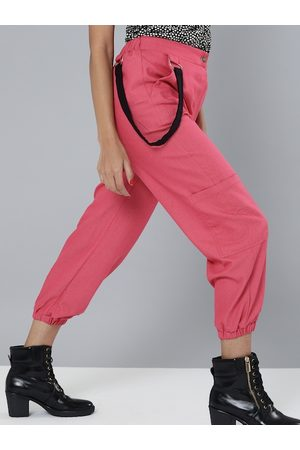 Sassafras Women Pink Cotton Solid Hip-Hop Cropped Cargos Joggers
