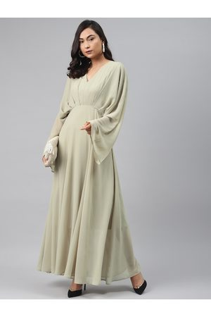 Sassafras Women Green Solid Maxi Dress With Flared Sleeves