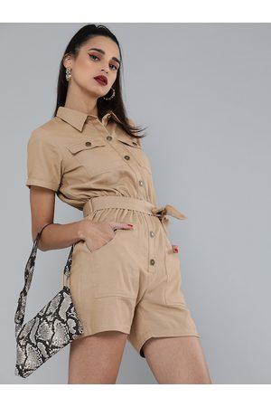 Sassafras Women Khaki Pure Cotton Solid Playsuit with Belt