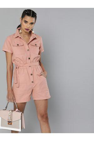 Sassafras Women Pink Solid Pure Cotton Belted Playsuit