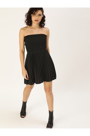 U&F Women Black Solid Off-shoulder Accordion Pleated Fit and Flare Dress