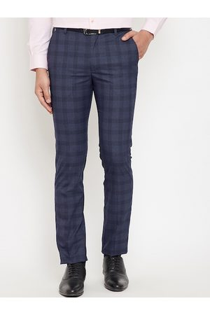 Canary London Men Navy Blue Slim Fit Checked Formal Trousers