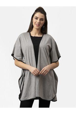 Style Quotient Women Grey Melange Solid Open Front Shrug
