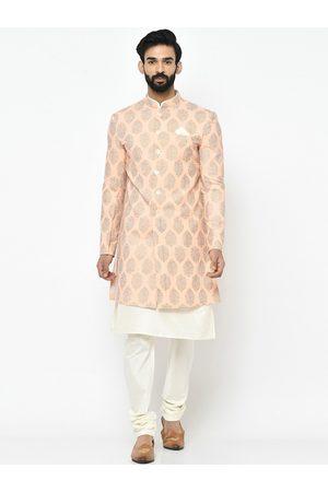 Vartah Men Peach-Coloured & Gold-Coloured Printed Sherwani Set
