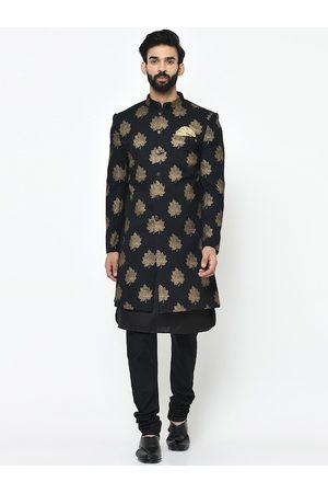 Vartah Men Black & Gold-Coloured Printed Sherwani Set