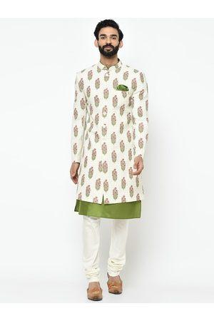 Vartah Men White & Pink Printed Sherwani Set