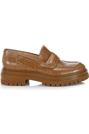 Gianvito Rossi Loafers - Argo Lug-Sole Croc-Embossed Leather Loafers