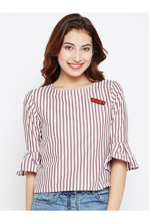 Style Quotient Women Brown & White Striped Top