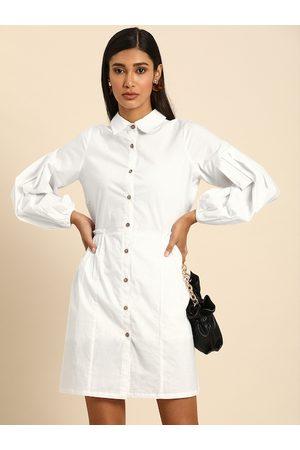 ATHENA Women White Solid Shirt Dress