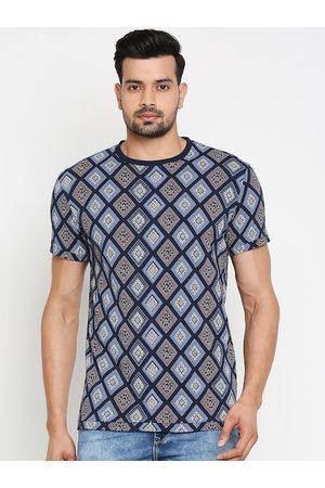 Mufti Men Navy Blue Printed Round Neck Cotton T-shirt