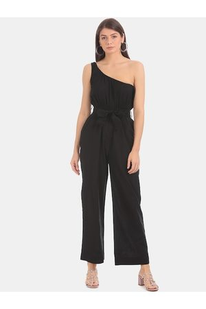Aeropostale Women Black Solid Cotton Jumpsuit