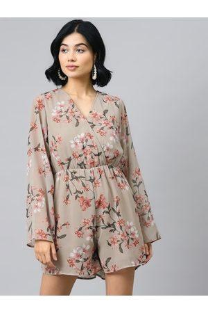 Sassafras Women Beige & Pink Floral Printed Playsuit