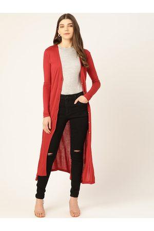 Trend Arrest Women Rust Red Solid Button Shrug