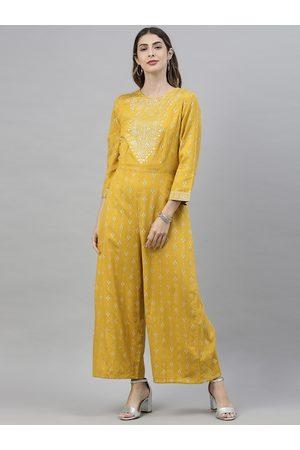 Global Desi Women Mustard Yellow & White Printed Basic Jumpsuit