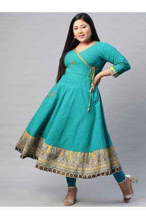 Yash Gallery Women Plus Size Blue Ethnic Motifs Embroidered A-Line Angrakha Kurta