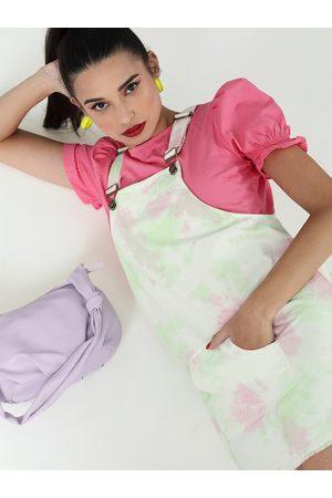 Sassafras Women Green & Pink Pure Cotton Dyed Pinafore Dress