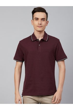 Marks & Spencer Blue Harbour Men Maroon Self-Striped Pure Cotton Polo Collar T-shirt