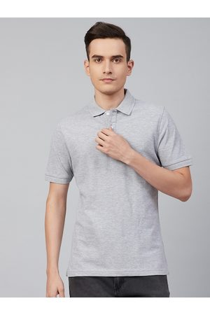 Marks & Spencer Men Grey Solid Pure Cotton Slim Fit Polo Collar T-shirt