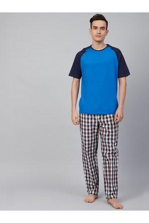 Marks & Spencer Men Cotton Blue & Black Solid Night suit