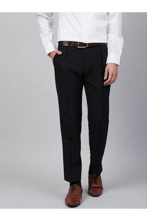 Marks & Spencer Men Black Regular Fit Solid Trousers
