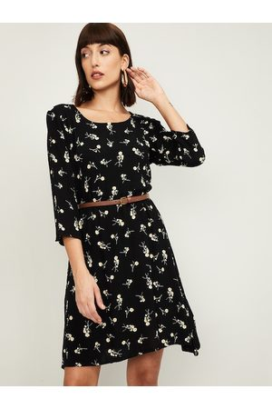 Bossini Women Black Floral Printed Fit & Flare Dress