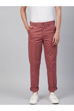 Marks & Spencer Men Pink Regular Fit Lightweight Solid Chinos