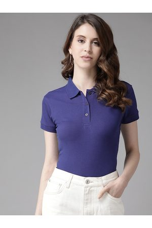 Cayman Women Blue Solid Pure Cotton Polo Collar T-shirt