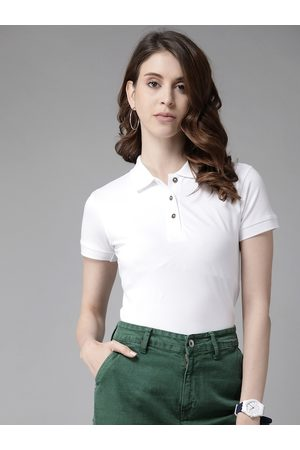 Cayman Women White Solid Pure Cotton Polo Collar T-shirt