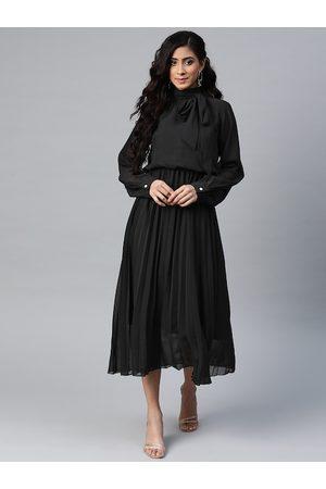 Sassafras Women Black Solid Accordion Pleats A-Line Midi Dress