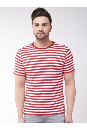 GRITSTONES Men White Striped Round Neck T-shirt