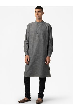 Fab India Men Charcoal Grey Solid Pure Cotton Comfort Fit Solid Kurta