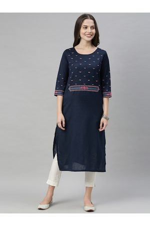 ALENA Women Navy Blue Ethnic Motifs Embroidered Kurta