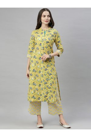 ALENA Women Yellow & Green Printed Kurta with Palazzos