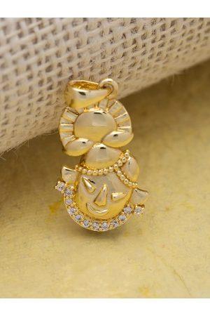 Voylla Men Gold-Plated White CZ-Studded Spiritual Saga Handcrafted Pendant