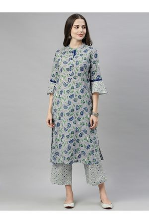 ALENA Women Grey & Green Floral Printed Kurta with Palazzos