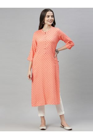 ALENA Women Peach-Coloured & Red Geometric Printed Kurta