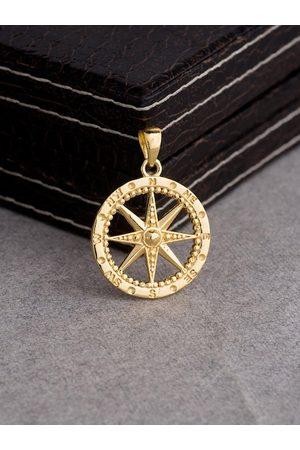 Voylla Men Gold-Plated Nautical Compass Pendant