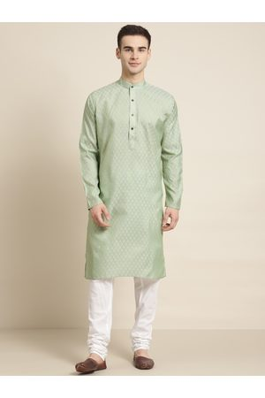 SOJANYA Men Green & Off-White Woven Design Kurta with Churidar