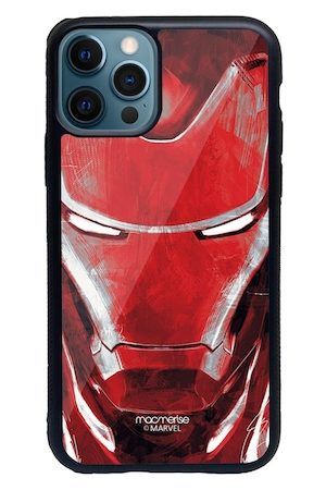 macmerise Red & White Charcoal Art Iron man Printed iPhone 12 Pro Max Back Case
