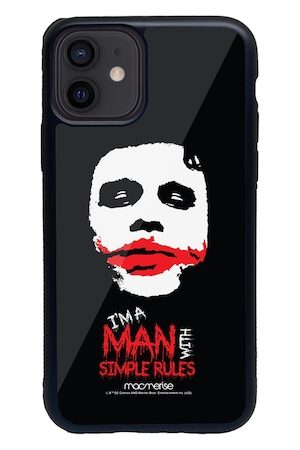 macmerise Black & Red Man With Simple Rules Printed iPhone 12 Back Case