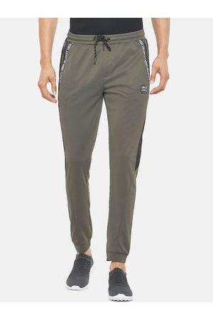 Pantaloons Men Grey & Black Solid Slim Fit Joggers