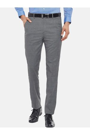 RICHARD PARKER by Pantaloons Men Charcoal Slim Fit Checked Formal Trousers