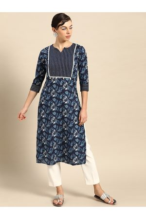 Varanga Women Blue & White Floral Printed Thread Work Pure Cotton Indigo Kurta