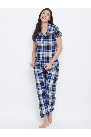 Clovia Women Blue & Black Checked Night Suit