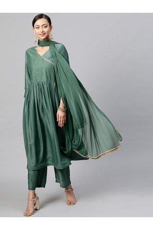 STREET 9 Women Green Printed Kurta with Trousers & Dupatta