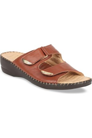 Scholl Women Brown Solid Leather Open Toe Flats