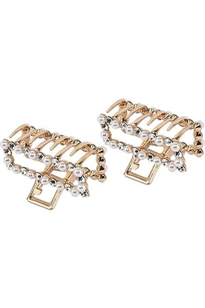 BuckleUp Women Gold-Toned & White Set of 2 Embellished Claw Clip
