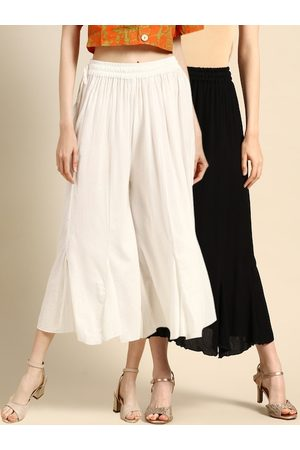 Tag 7 Women Combo of 2 Black & White Solid Flared Palazzos